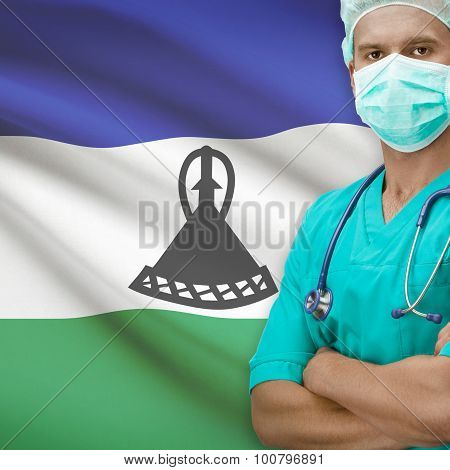 Surgeon With Flag On Background Series - Lesotho