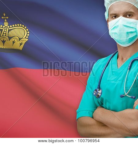 Surgeon With Flag On Background Series - Liechtenstein