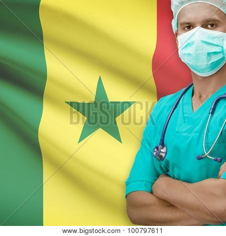 Surgeon With Flag On Background Series - Senegal