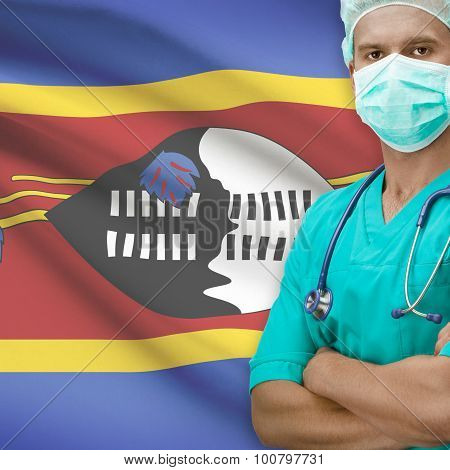 Surgeon With Flag On Background Series - Swaziland