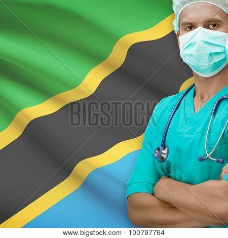 Surgeon With Flag On Background Series - Tanzania