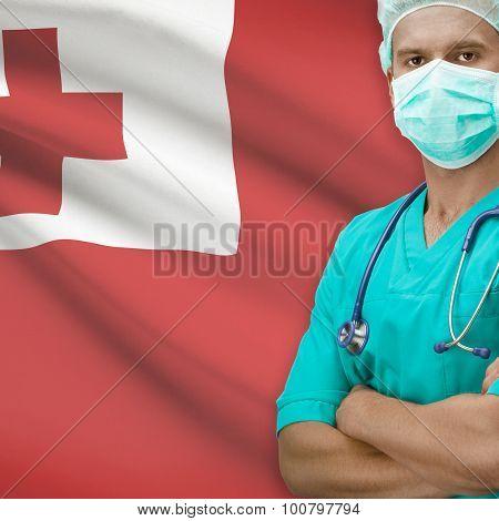 Surgeon With Flag On Background Series - Tonga