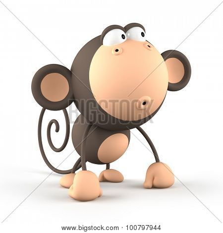 Cartoon  monkey isolated on white background 3D rendering