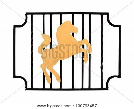 Fence With Silhouette Of Horse