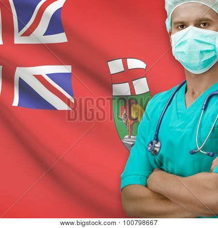 Surgeon With Canadian Province Flag On Background Series - Manitoba