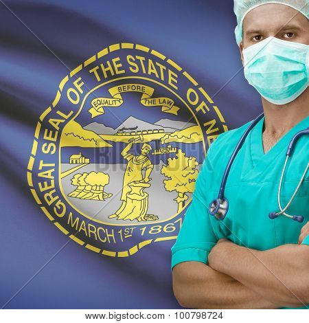 Surgeon With Us States Flags On Background Series - Nebraska