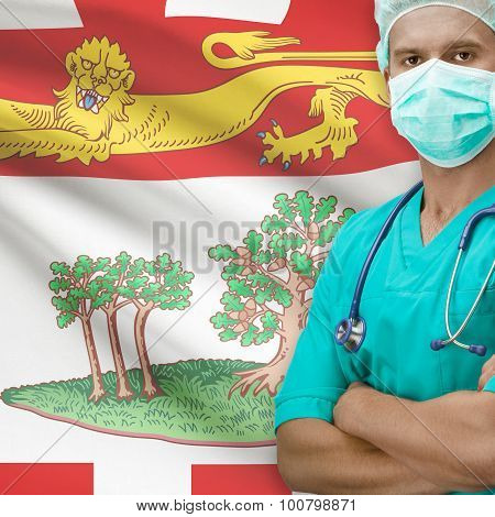 Surgeon With Canadian Province Flag On Background Series - Prince Edward Island