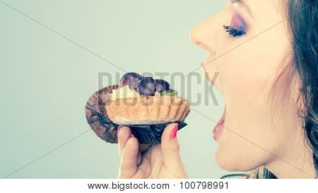 Woman Face Profile Open Mouth Eating Cake