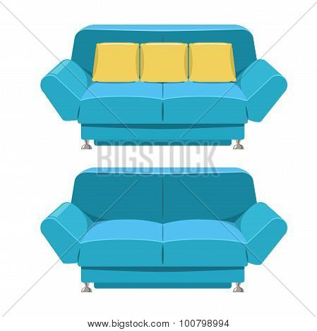 Blue Sofa Couch Vector Design. Front View