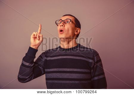 European-looking man with glasses 30 years, the idea of opening