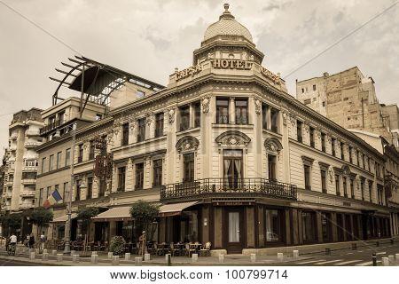 Bucharest, Romania - June 28: Hotel Capsa Facade On June 28, 2015 In Bucharest, Romania. It Is A His