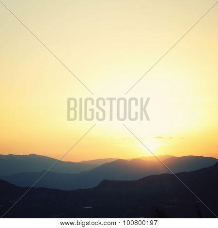 Sunset In Turkey. Mountains Near Adrasan, Antalya Province.