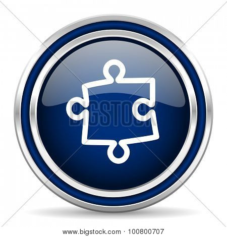 puzzle blue glossy web icon modern computer design with double metallic silver border on white background with shadow for web and mobile app round internet button for business usage