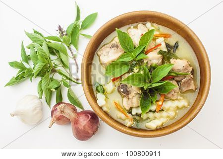 Thai Food Green Curry Chicken And Garlic,onion,basil Leaf Isolated On White Bacground.