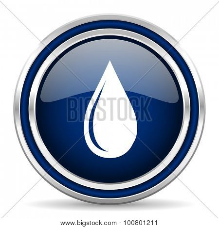 water drop blue glossy web icon modern computer design with double metallic silver border on white background with shadow for web and mobile app round internet button for business usage