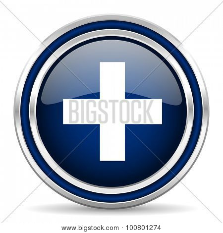 plus blue glossy web icon modern computer design with double metallic silver border on white background with shadow for web and mobile app round internet button for business usage