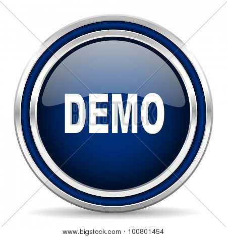 demo blue glossy web icon modern computer design with double metallic silver border on white background with shadow for web and mobile app round internet button for business usage