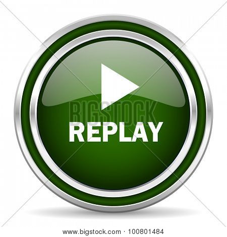 replay green glossy web icon modern design with double metallic silver border on white background with shadow for web and mobile app round internet original button for business usage