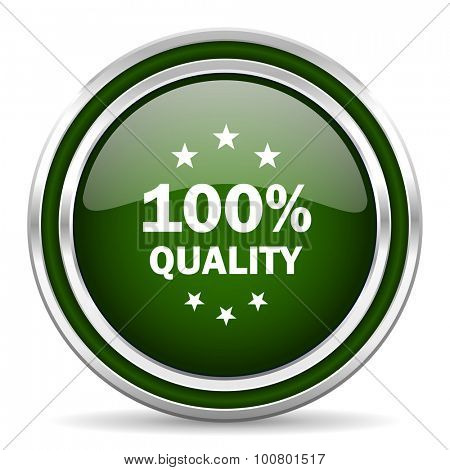 quality green glossy web icon modern design with double metallic silver border on white background with shadow for web and mobile app round internet original button for business usage