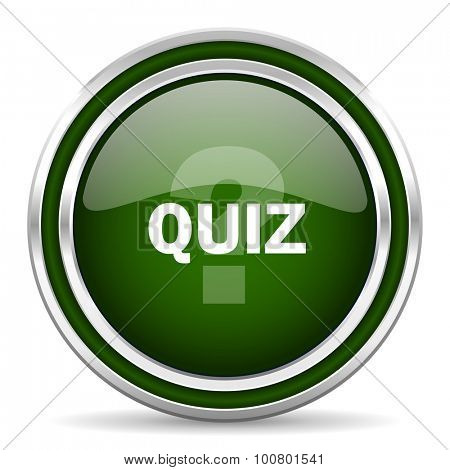 quiz green glossy web icon modern design with double metallic silver border on white background with shadow for web and mobile app round internet original button for business usage