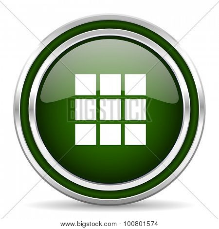 thumbnails grid green glossy web icon modern design with double metallic silver border on white background with shadow for web and mobile app round internet original button for business usage