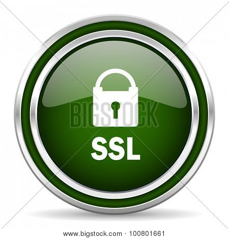 ssl green glossy web icon modern design with double metallic silver border on white background with shadow for web and mobile app round internet original button for business usage