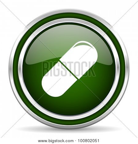 drugs green glossy web icon modern design with double metallic silver border on white background with shadow for web and mobile app round internet original button for business usage