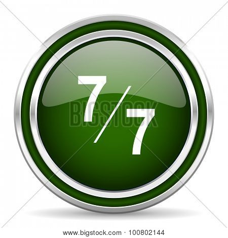 7 per 7 green glossy web icon modern design with double metallic silver border on white background with shadow for web and mobile app round internet original button for business usage