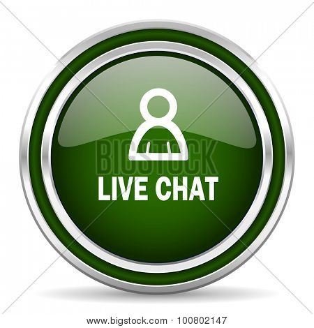 live chat green glossy web icon modern design with double metallic silver border on white background with shadow for web and mobile app round internet original button for business usage