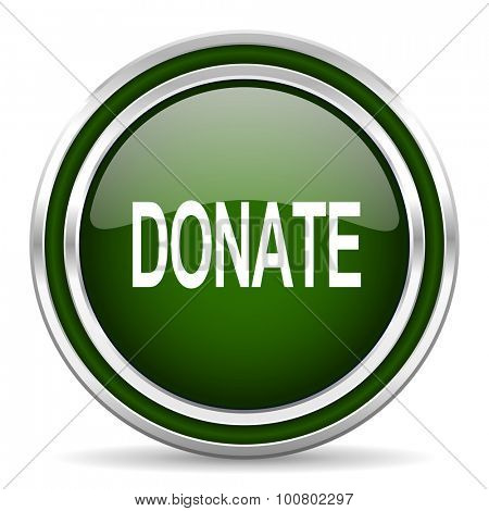 donate green glossy web icon modern design with double metallic silver border on white background with shadow for web and mobile app round internet original button for business usage