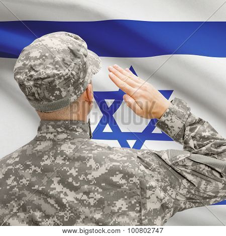Soldier In Hat Facing National Flag Series - Israel