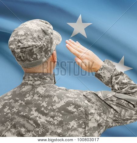 Soldier In Hat Facing National Flag Series - Micronesia