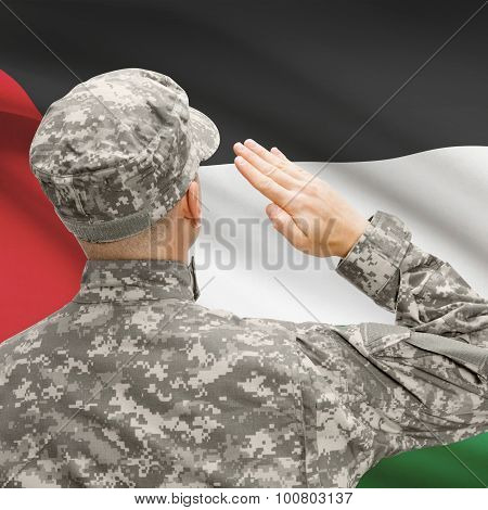 Soldier In Hat Facing National Flag Series - Palestine