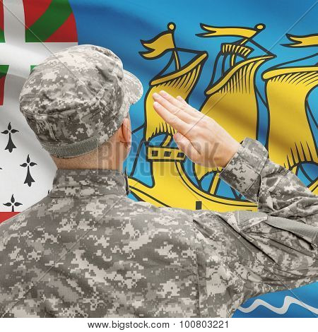 Soldier In Hat Facing National Flag Series - Saint-pierre And Miquelon