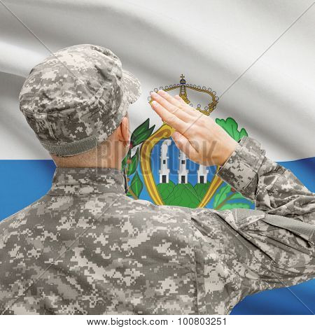 Soldier In Hat Facing National Flag Series - San Marino
