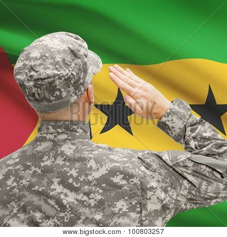 Soldier In Hat Facing National Flag Series - Sao Tome And Principe
