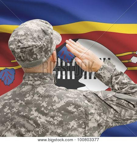 Soldier In Hat Facing National Flag Series - Swaziland