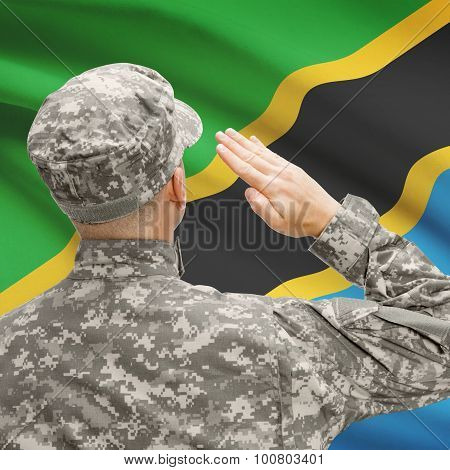 Soldier In Hat Facing National Flag Series - Tanzania