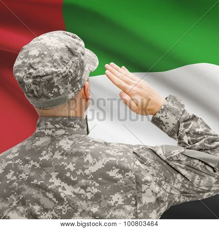 Soldier In Hat Facing National Flag Series - United Arab Emirates