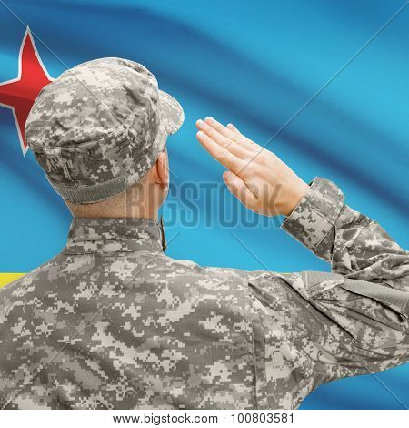 Soldier In Hat Facing National Flag Series - Aruba
