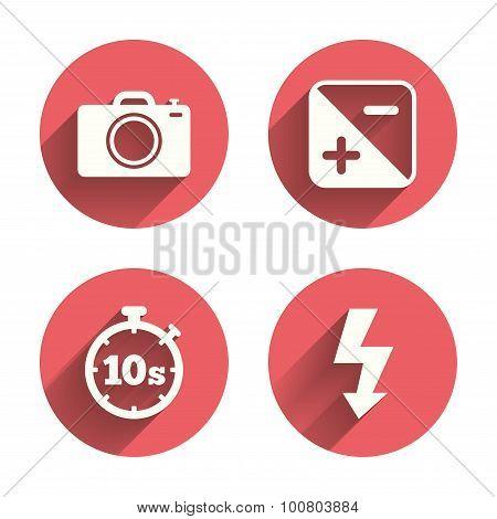 Photo camera icon. Flash light and exposure.
