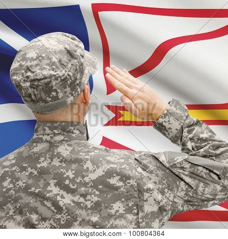 Soldier Saluting To Canadial Province Flag Series - Newfoundland And Labrador