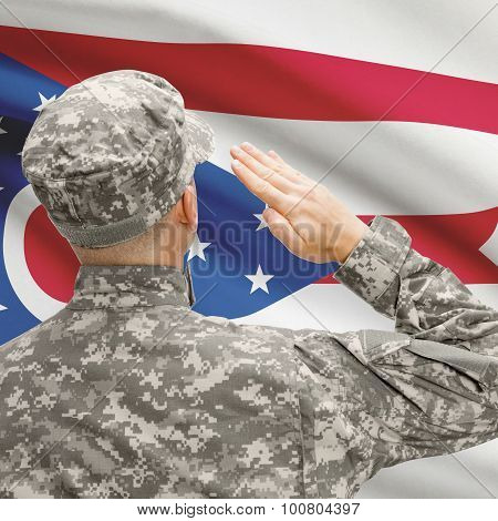 Soldier Saluting To Us State Flag Series - Ohio