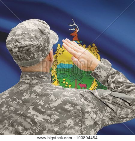 Soldier Saluting To Us State Flag Series - Vermont