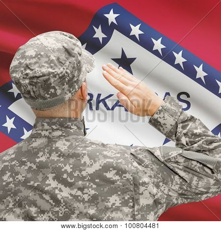 Soldier Saluting To Us State Flag Series - Arkansas