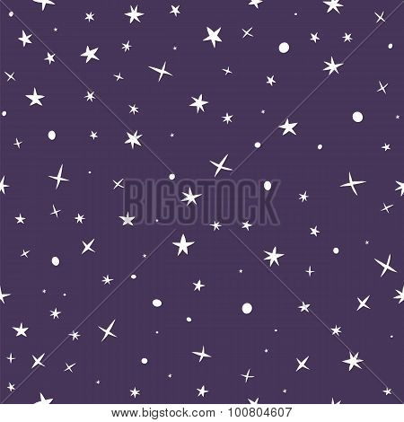 Cute Hand Drawn Seamless Pattern With Night Sky And Stars