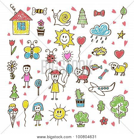 Doodle Children Drawing. Hand Drawn Set Of Drawings In Child Style