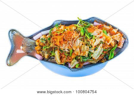 Hot And Sour Curry With Tamarind Sauce, Fish And Vegetables Isolate Whitebackground With Clippingpat