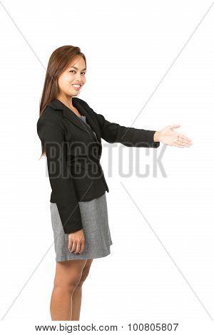 Offering Handshake Smiling Asian Side At V