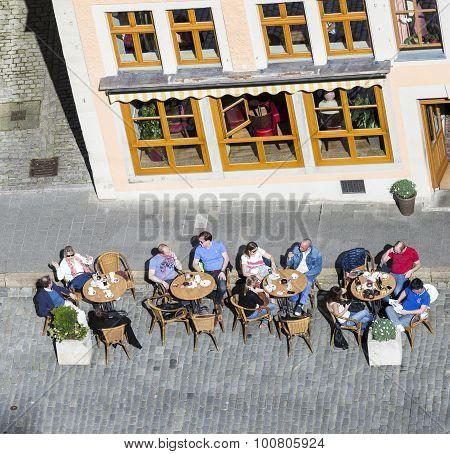 People Enjoy The Centarl Market Place At Rothenburg